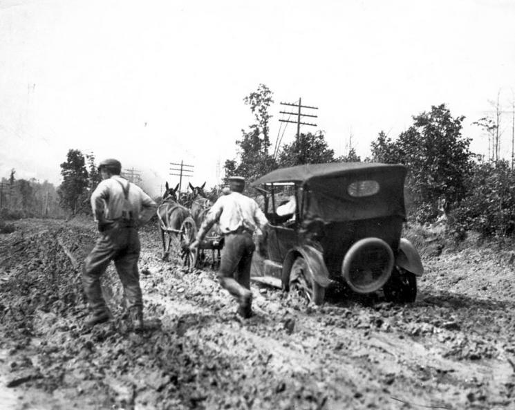 Auto Being Dragged Out of the Mud, 1917