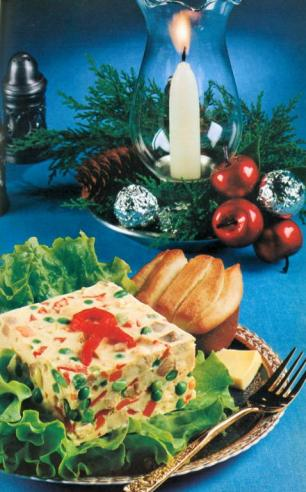 """Frozen Jellied Turkey-Vegetable Salad"" from Reynolds Wrap Carefree Cooking with Aluminum Foil"