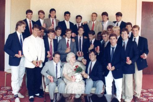 Betty Sams Christian surrounded by the 1988 University of Virginia Soccer Team
