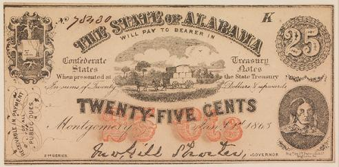 Alabama Twenty-Five Cent Note, 1863