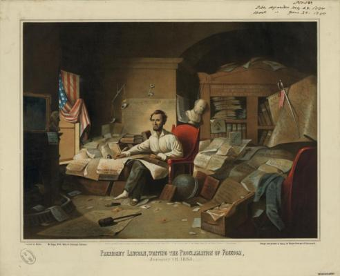 President Lincoln Writing the Proclamation of Freedom, January 1st, 1863, David Gilmore Blythe, 1863