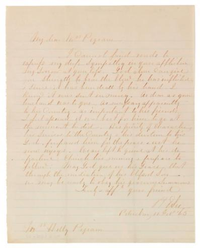Condolence letter from Gen. Robert E. Lee to Hetty (Cary) Pegram, February 11, 1865
