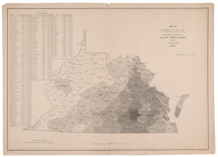 Map of Virginia: Showing the Distribution of its Slave Population, from the Census of 1860