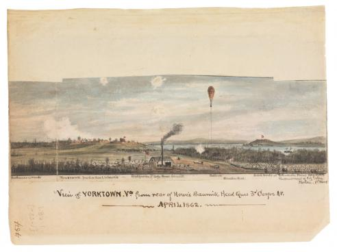 View of Yorktown, Va., from rear of Howe's Sawmill, Head Qurs, 3rd Corps AP. April 1862
