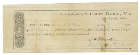 Appomattox parole for Corporal Richardson Wallace Haw of Company I of the 15th Virginia Infantry Regiment.