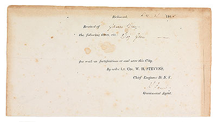 "Receipt for Work on Fortifications Completed by ""Big Jim,"" a slave of James Gray"
