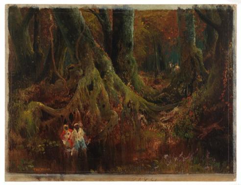 The Slave Hunt [Dismal Swamp, Virginia], Thomas Moran, 1864