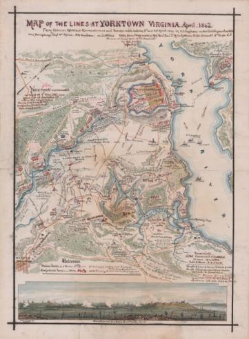 Map of the Union defensive lines at Yorktown by Robert Knox Sneden