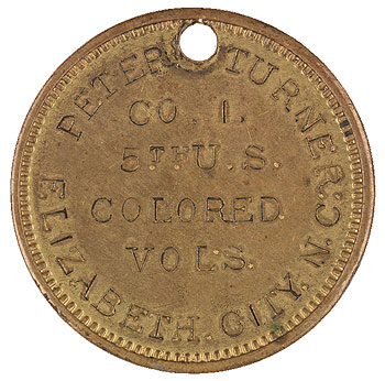 Identification Disc of Pvt. Peter Turner of Company I, 5th United States Colored Infantry, c. 1863–64