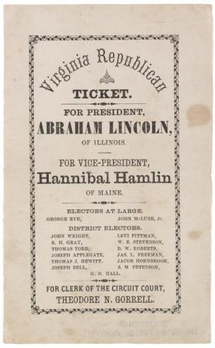 Republican Party Election Ticket, 1860