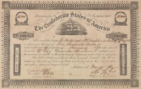 Confederate States bond owned by the Virginia Historical Society.