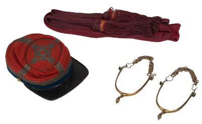 Forage Cap, Sash, and Spurs of Lt. Col. Noah Farnham, 11th New York Infantry, c. 1861