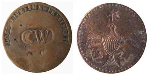 Two examples of clothing buttons, made of brass or copper, to commemorate Washington's inauguration