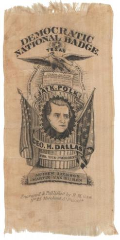 A silk campaign ribbon for James K. Polk