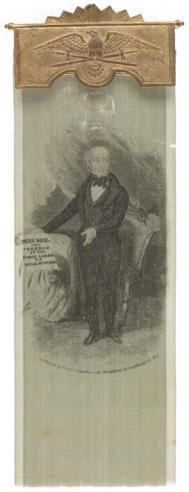 A ribbon with an image of Martin Van Buren