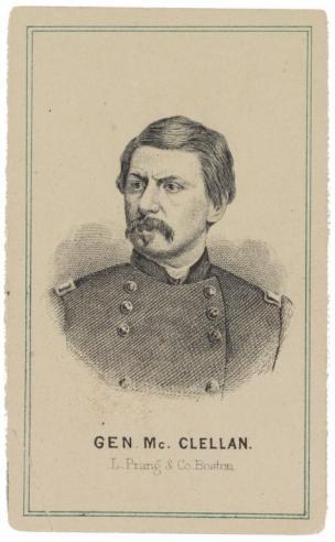 A carte de visite portrait of George B. McClellan, the Democratic Party candidate