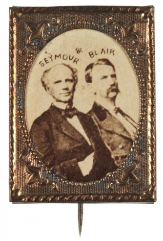 Photographs of Horatio Seymour and Francis P. Blair, Jr., set in copper or brass frames with a pin for attachment to a lapel