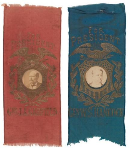 Campaign ribbons forJames A. Garfield and Winfield Scott Hancock