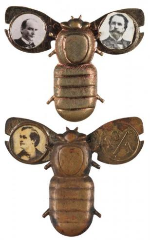 "A gold mechanical lapel pin depicting William Jennings Bryan and the ""16/1"" slogan and a silver mechanical lapel pin with photographs of McKinley and his running mate Garret Hobart"