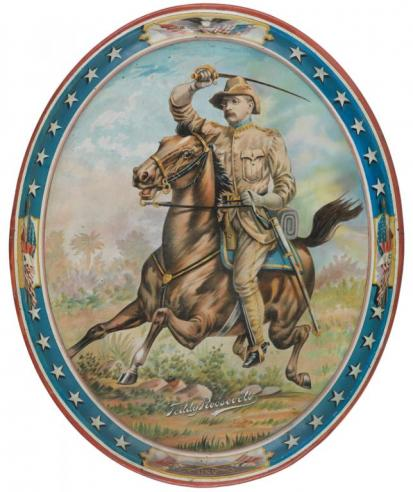 A serving tray featuring an image of Teddy Roosevelt on a galloping horse, dressed in Rough Rider uniform