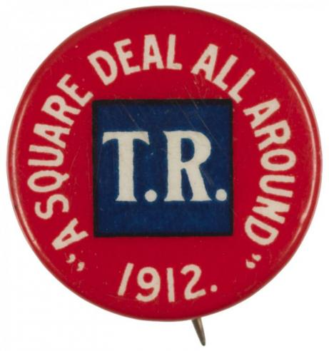 A campaign button supporting Teddy Roosevelt