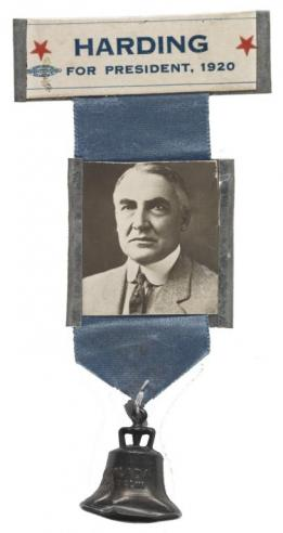 A Warren Harding campaign ribbon with a bell below