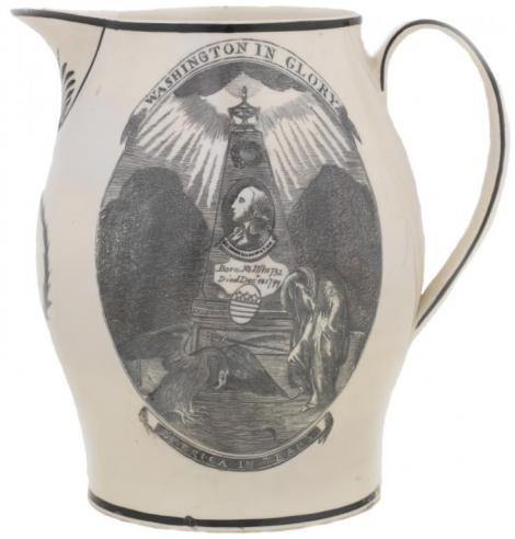 a cream ware pitcher from Liverpool, England, commemorating George Washington's death in 1799