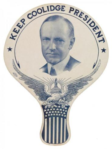 A fan featuring a picture of Calvin Coolidge