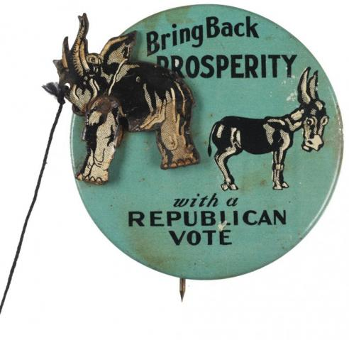 A mechanical badge in support of the Republican Party