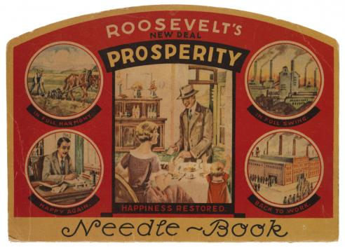 A case of sewing needles and thread with a cover that includes text and images supporting Franklin Roosevelt's New Deal policies