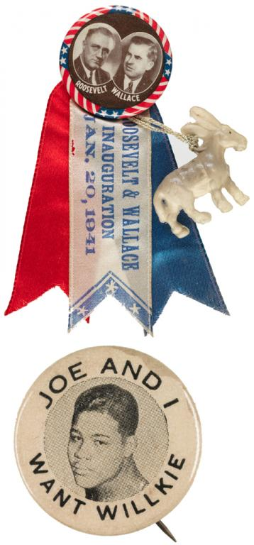a ribbon badge for Franklin Roosevelt and running mate Henry Wallace