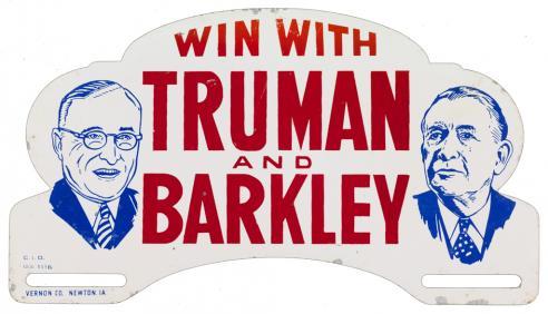 A Harry Truman and Alben Barkley license plate attachment