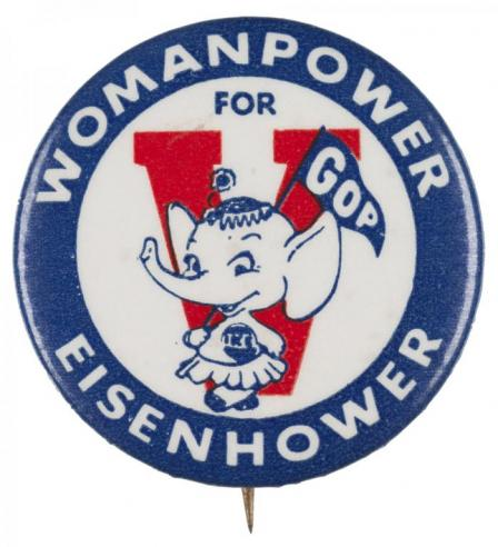 A pro-Eisenhower button intended to attract female voters