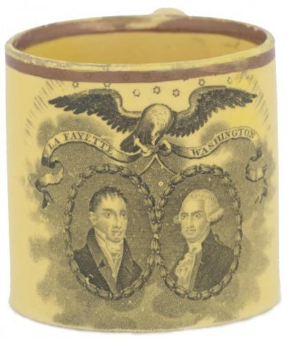 A child's cup that commemorates the Marquis de Lafayette's visit to the United States in 1824
