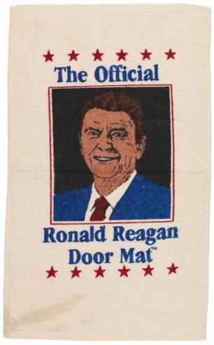 A Ronald Reagan campaign door mat