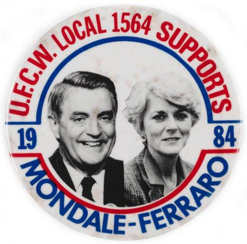 A campaign button for Walter Mondale