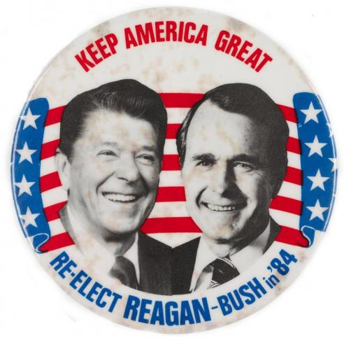 A campaign button for Ronald Reagan