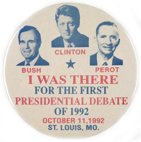 A button for a presidential debate between George H. W. Bush, Bill Clinton, and Ross Perot