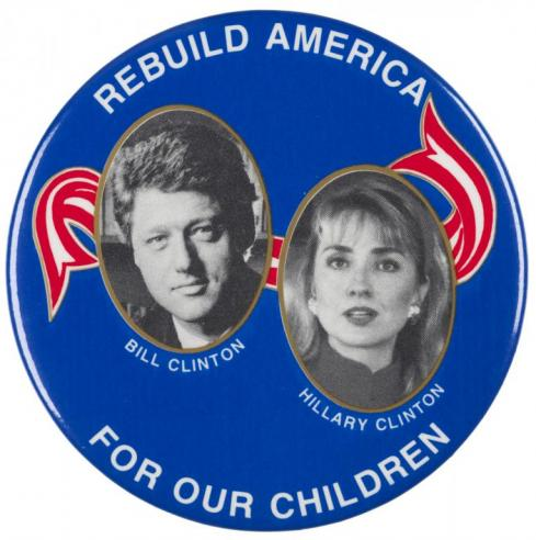 A campaign button for Bill Clinton
