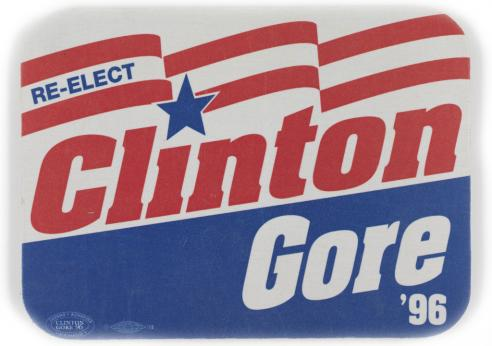 A button from the Bill Clinton-Al Gore reelect campaign