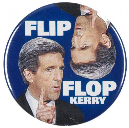 A campaign button against John Kerry