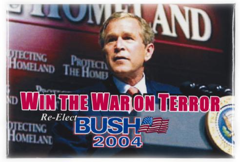 A campaign button for George W. Bush