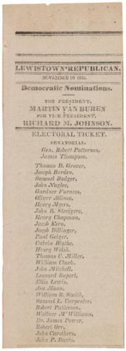 A newspaper announcement of the Democratic Party presidential and senatorial candidates dated November 10, 1835