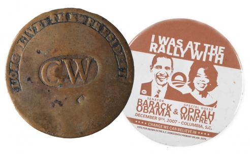 George Washington clothing button and a Barack Obama campaign button