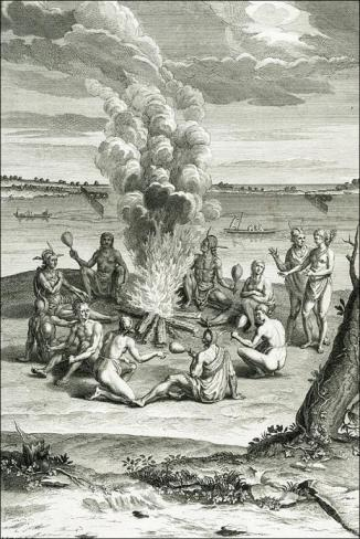 Virginia Indians seated around a fire