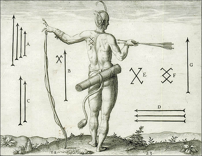 The sundry Marks of the Chief Men of Virginia By Theodore de Bry [probably after John White]