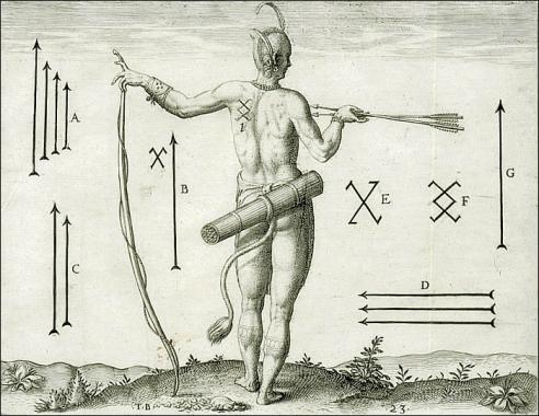 Painting of an American Indian man's back profile in a posed position holding arrows in his right hand and a long stick in his right hand with his arm extended outwards. Symbols and arrows are included around the man, with the letters A, B, C, D, E, F, and G labeling each symbol.
