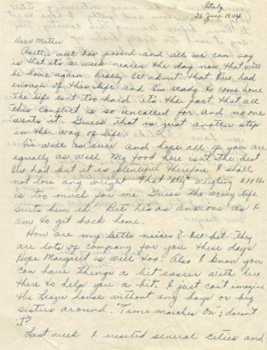 Harold Leazer to his mother, June 25, 1944