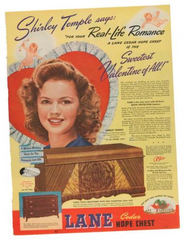 Lane Furniture advertisement, featuring Shirley Temple