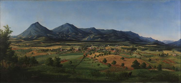 "Painting of a blue mountain ridge behind the ""foot of the mountains"", showing agricultural sites, residential areas, and forest."